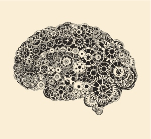 Cogs in the shape of a human brain.